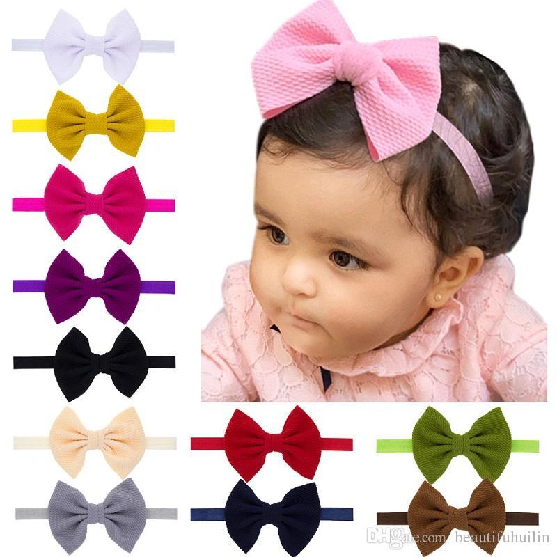 24X Fest Baby-Bowknot elastische Haar-Bänder Stirnband-Kleinkind-Kinder-Kopfbedeckung Schönes Huilin DWH101