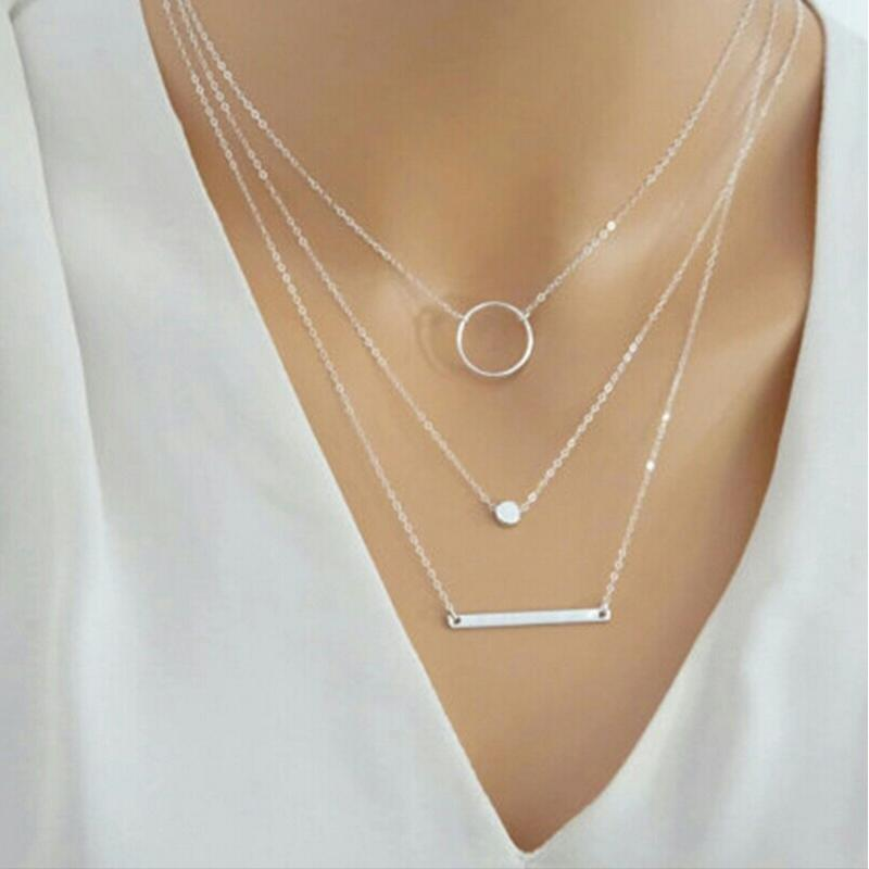 Three layers disc bar Pendant Silver or gold plated with circle choker Metal Chain for Women necklace