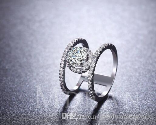 New Fine Luxury Quality diamond wedding ring Double wheel white gold ring High quality inlaid zircon
