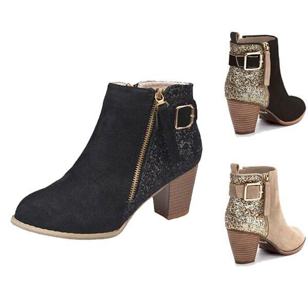 Più economiche delle donne stivali del nuovo delle donne sexy della caviglia Fashion Boots militari scamosciata tacco grosso casuali pattini di vestito progettista scarpe 35-43