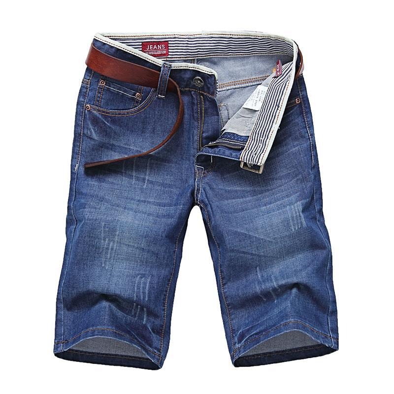 Solido 100% Cotone 2019 Nuova Lunghezza Denim Shorts Lisci Corti jeans Estate New Casual Male Blu jeans del bicchierino di formato 28-38