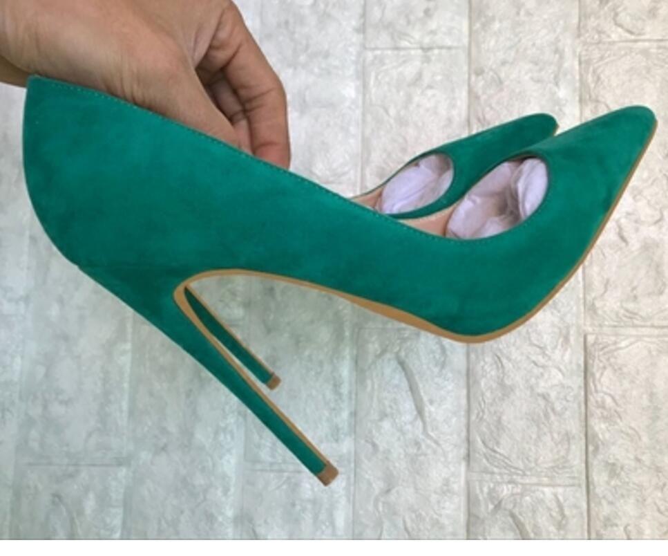 2019 verde azul Suede Zapatos individuales Cúspide Tacón fino Zapatos de tacón alto para mujeres 8 cm 10 cm 12 cm Código grande 44 banquete Club nocturno Zapatos rojos
