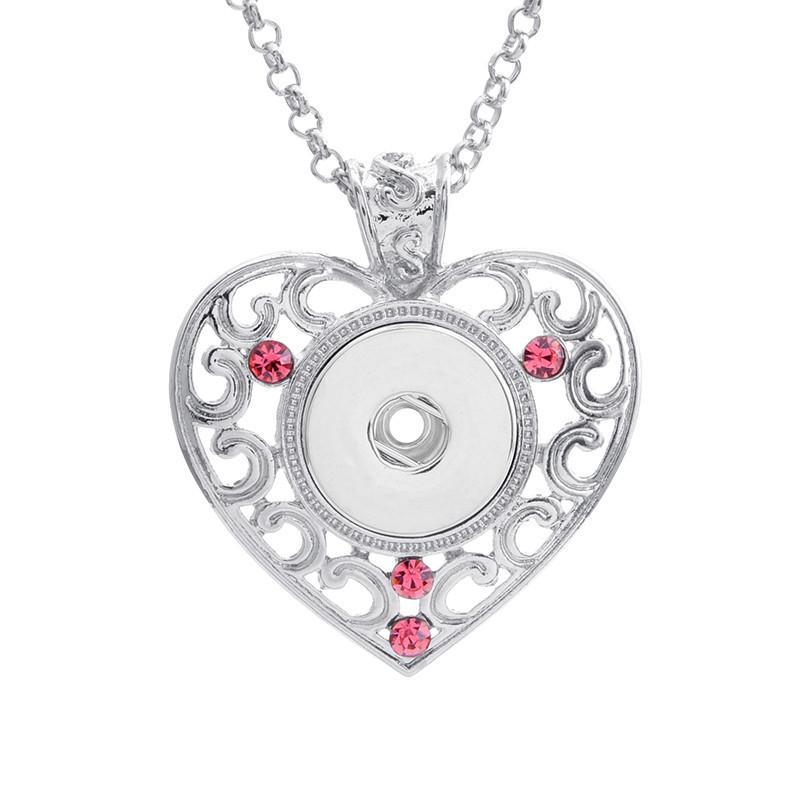 Оснастка ювелирная новая кнопка кулон высокое качество 18мм горный хрусталь оснастка новые кнопки ожерелья сердце оснастки ожерелье