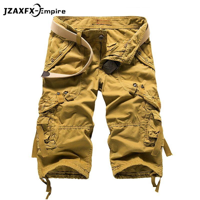 Summer Military Men's Baggy Multi Pocket Military Zipper Cargo Shorts Breeches Male Long Army Green Khaki Mens Tactical Short Y19042005