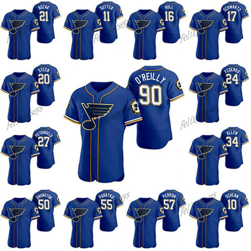 St. Louis Blues 2020 Hockey X Baseball Crossover Jersey 90 Ryan O'Reilly 50 Binnington Al Macinnis Bob Plager Alexander Steen