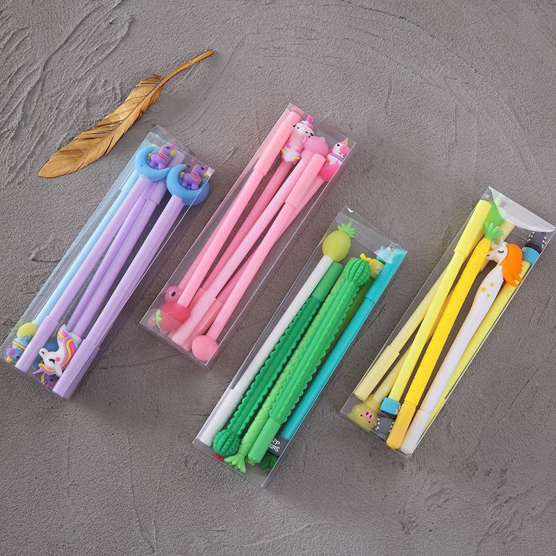 6 PC / set Hot Rubber Top Kopf-Rosa-Mädchen Cute Unicorn Pen Kawaii Cactus Gel-Feder-Set-Süßigkeit-Farben Neutral Gel-Tinten-Feder für Kinder Geschenk-Briefpapier