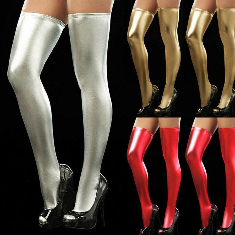 2019 Moda Mujeres PU medias sobre la rodilla calcetines largos de arranque hasta el muslo Medias Negro Rojo Plata Oro media atractiva