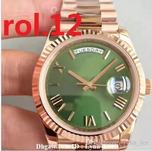 Nuevo Presidente del reloj para hombre de barrido automático Day-Date Movimiento Mecánico superior de oro rosa de acero de Stainess original de cierre de los hombres mira el reloj