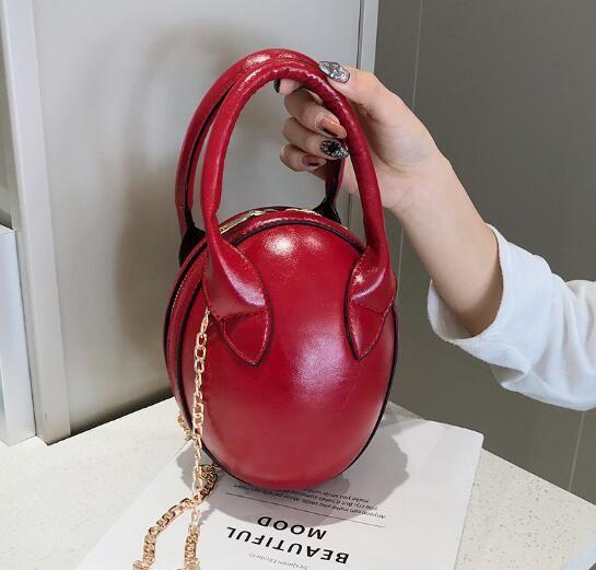 Yeni MS kadın 2019 Kore moda düz renk taşınabilir rahat küçük yuvarlak çanta omuz Messenger zincir çanta