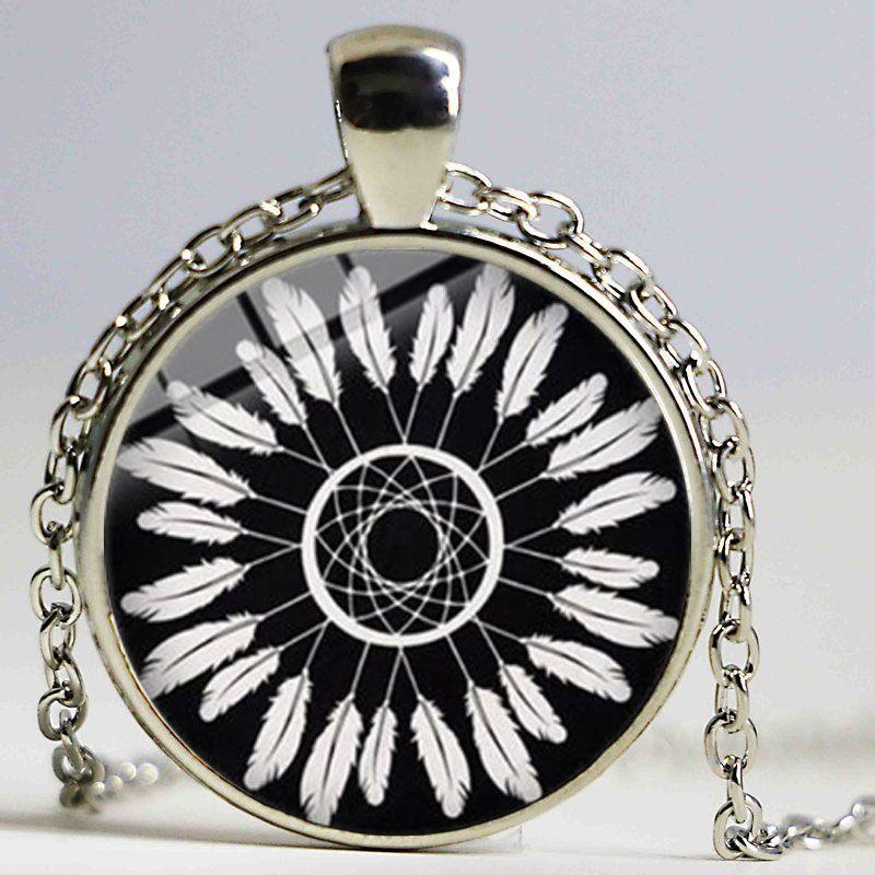 Cadeia Sonho Pena na moda Dreamcatcher Colar Pingente Vintage Catcher de Gravuras do vidro Dome Colar Sorte Jóias