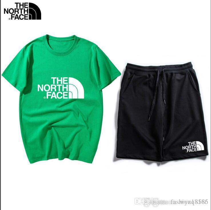 À manches courtes d'été Hommes Shorts Set jeunesse Deux Pièces Hommes col rond manches courtes Shorts plage Pantalons ZQ6380