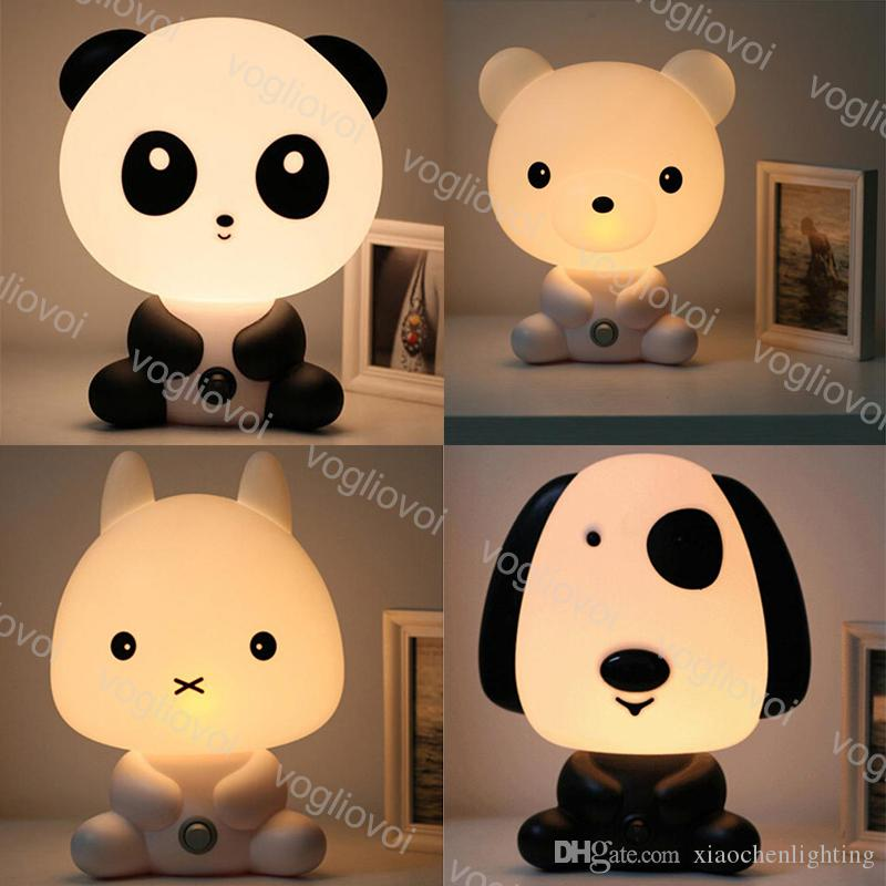 Table Lamps 15W PVC Cartoon Cute Panda Dog Rabbit Bear 110-240V EU / US Plug Indoor For Valentine's children's Day Birthday Gift DHL