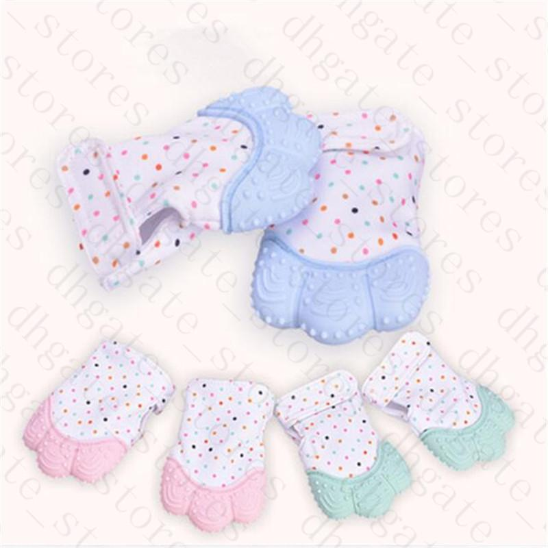 Baby Teething Glove Mitt Silicone Teether Mitten 3 Months+ Candy Gel Wrapping Sound Teethers Food Grade Infants Kids Chew Dummy Toys LY629