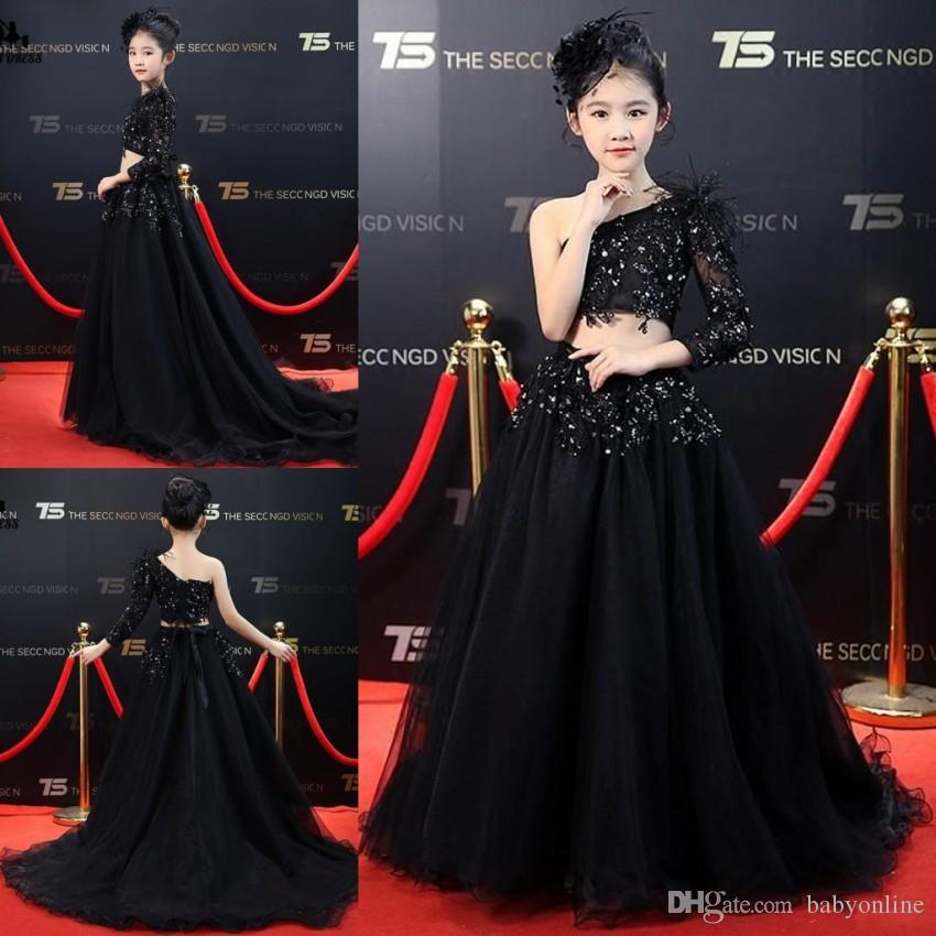 Beautiful Beads Tulle Girls Black Pageant Dresses Princess Sheer Long Sleeve One Shoulder Two Pieces Long Toddler Formal Party Gowns