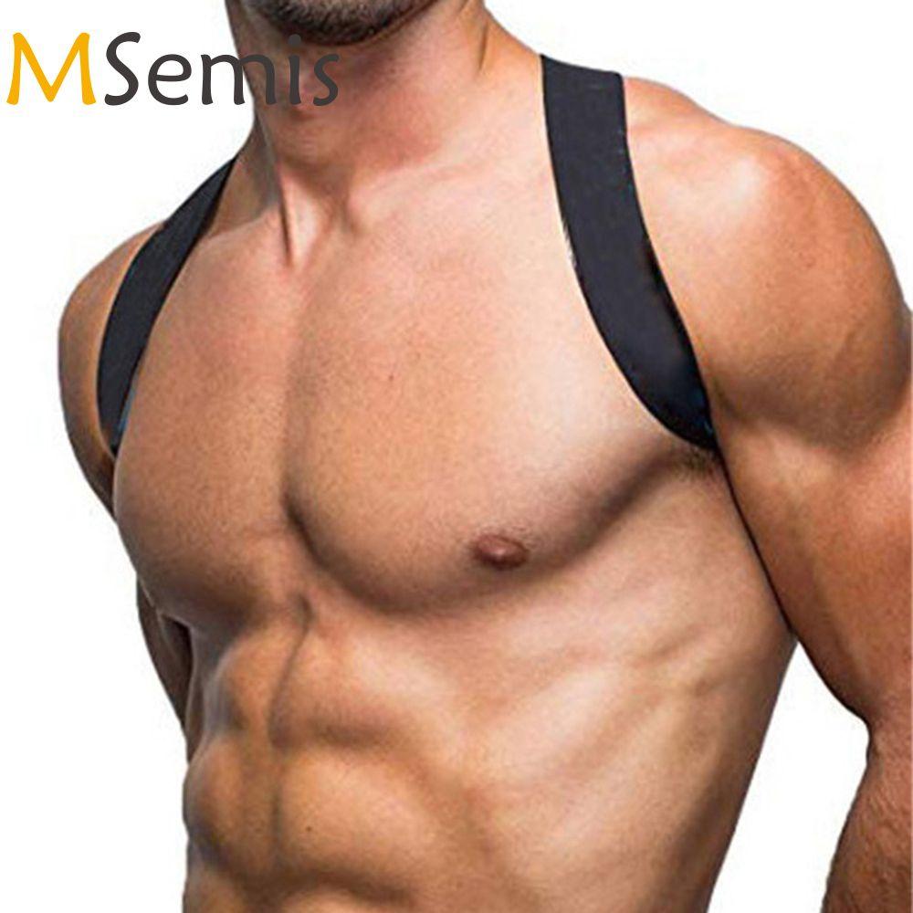 MSemis Hombres arnés Bondage de nylon X-Forma Volver Fetiche Gay Bondage pecho del arnés de los hombres del músculo ancho del cinturón de hombro