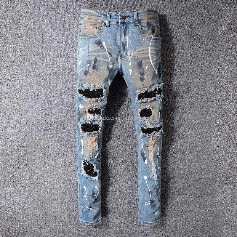Yeni Erkek Stilist Jeans Erkek Sıkıntılı Fermuar Jeans Denim Pantolon Erkek Yüksek Kalite Skinny Biker Pantolon Ripped