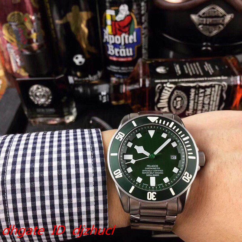 뜨거운 판매 남자 녹색 다이얼 자동 기계 이동 남자 스테인레스 스틸 남성 손목 시계 비즈니스 시계 무료 배송 시계 시계