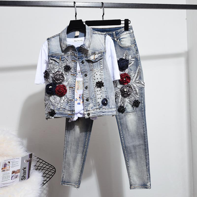 2019 Spring Women's Jeans Two Piece Sets New Stereo Flower Embrodiery Denim Vest + Denim Pant Suit Two Piece Sets