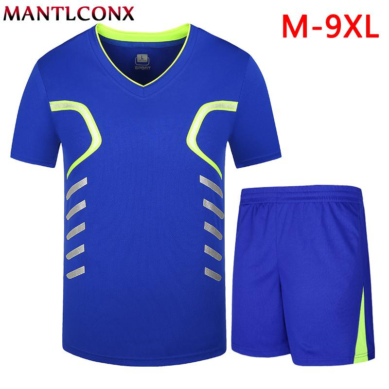 MANTLCONX M-9XL Men Sets Summer Sporting Suit Tshirt +Shorts Mens Clothing Two Pieces Sets 2019 Breathable Sportswear Tracksuit