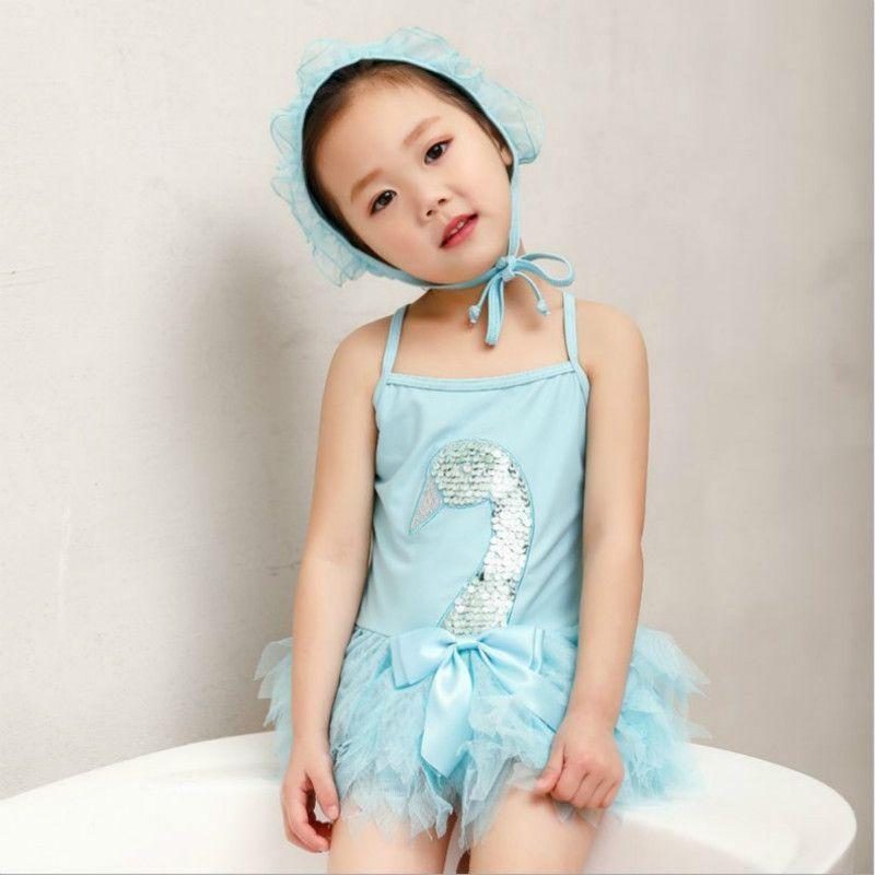 Newborn Baby Girl One Piece Mermaid Swimsuit Ruffles Bikini Ruffles Bathing Suit Swimwear+Headband+Cap