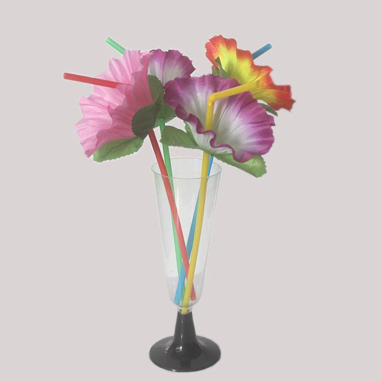 Plastic Art Straws With Flower Eco Friendly Modeling Fold Tubularis Reusable Drinking Straws Wedding Party Decor 20 Pieces ePacket