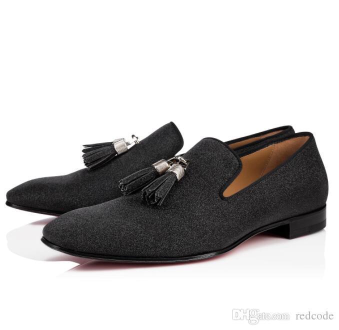 Super qualité Hommes Moccasin Flats Rivalion Glitter en cuir avec pompons rouges Sneakers Chaussures Bas Gentleman Robe de soirée de mariage EU35-47