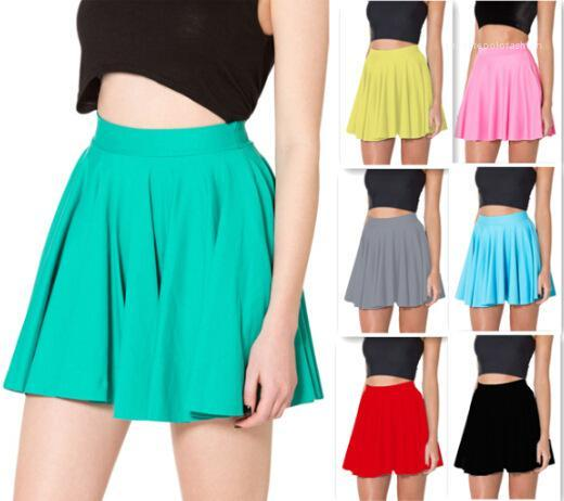 Casual Clothing Womens Candy Color Pleated Skirt Sexy Fashionable Solid Color High Waist Skirt Summer Famale Designer