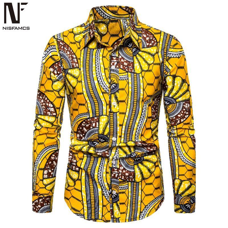 Geschäftsmann Gelegenheitsblumen Shirts Langarmshirts Turn-down Collar Big Size lose Bluse Europa Man Party Kleidung Neue Ankunft