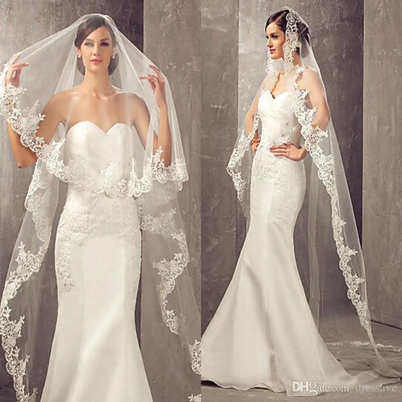 3 metros longo mais barato capela comprimento branco marfim véu véu com pente véu de casamento