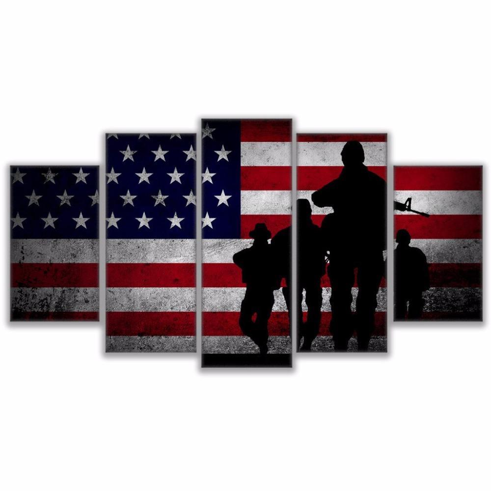 Flag Soldier, 5 pezzi Stampe su tela Wall Art Oil Painting Home Decor (senza cornice / con cornice)