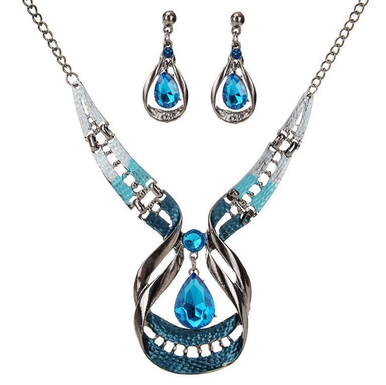 Новый Многоцветный Модный Богемский Сплав Взрыва Модный Роскошный Атмосфера Drop Gems Геометрия Национальный Ветер Серьги Набор Ожерелье