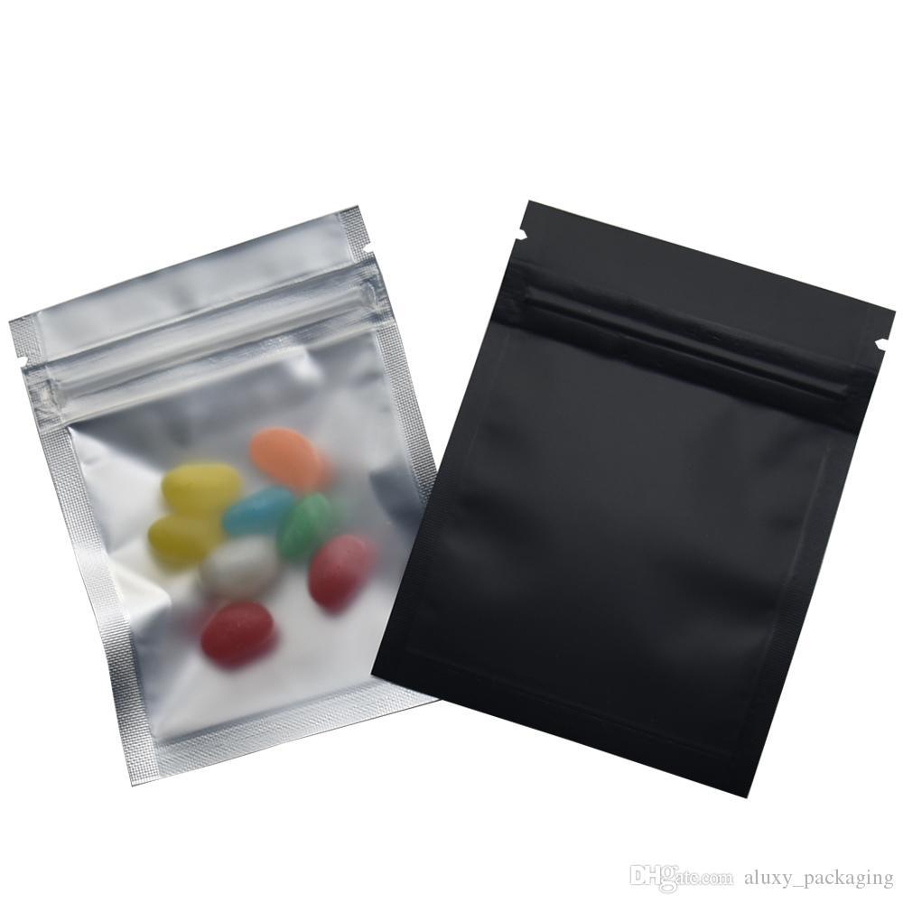 100 unids / lote 7.5 * 10 cm mate Negro / Claro Bolsas frontales con cremallera Resellable Bloqueo de aluminio Papel de aluminio Bolsa de plástico Alimentos Embalaje Mylar Bolsa de papel de aluminio