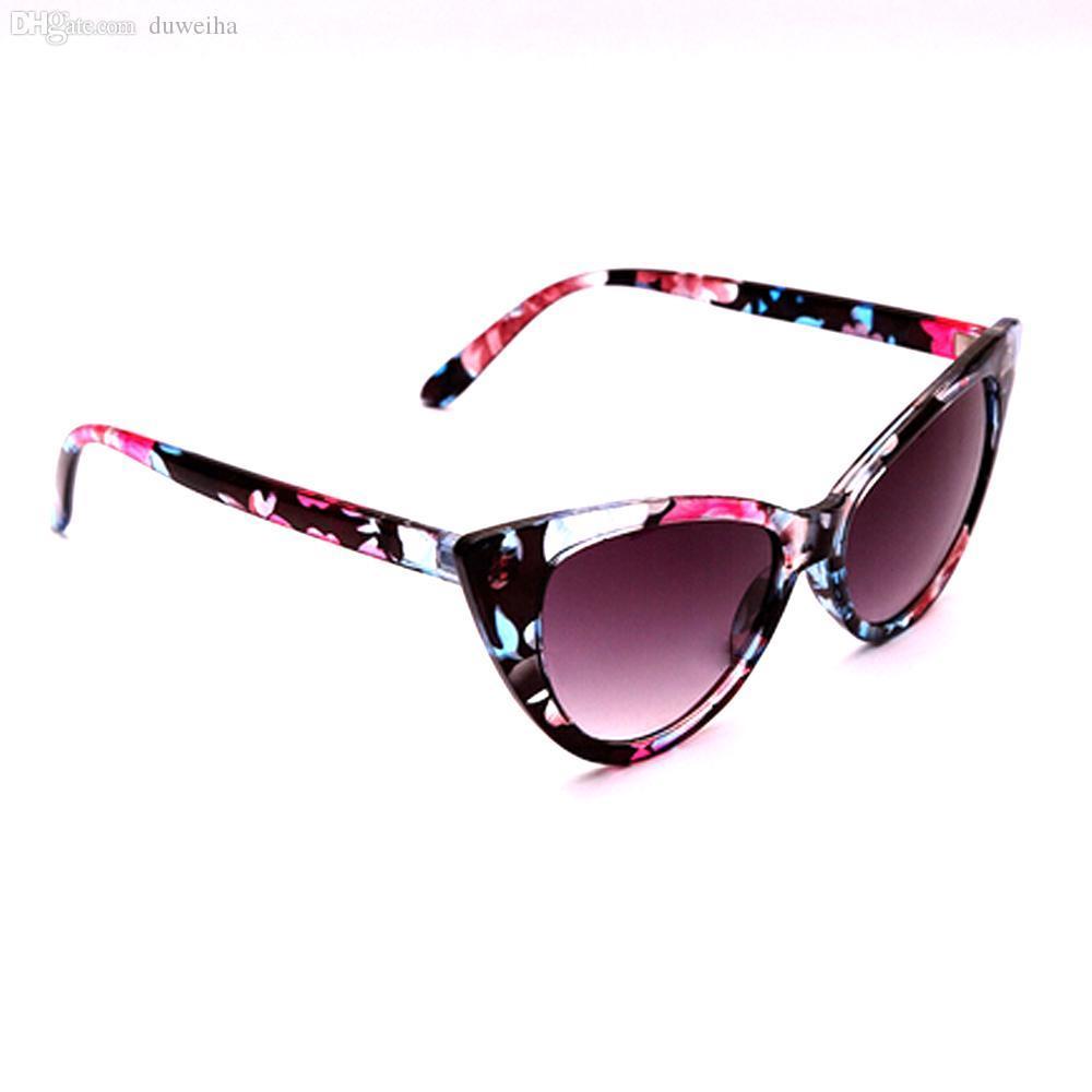 Оптово-1Pcs Vintage Cat Eye Designer Флора Печатные солнцезащитные очки Женщины Женщины Леди на открытом воздухе Ретро очки солнцезащитные очки Frame Новые прибытия