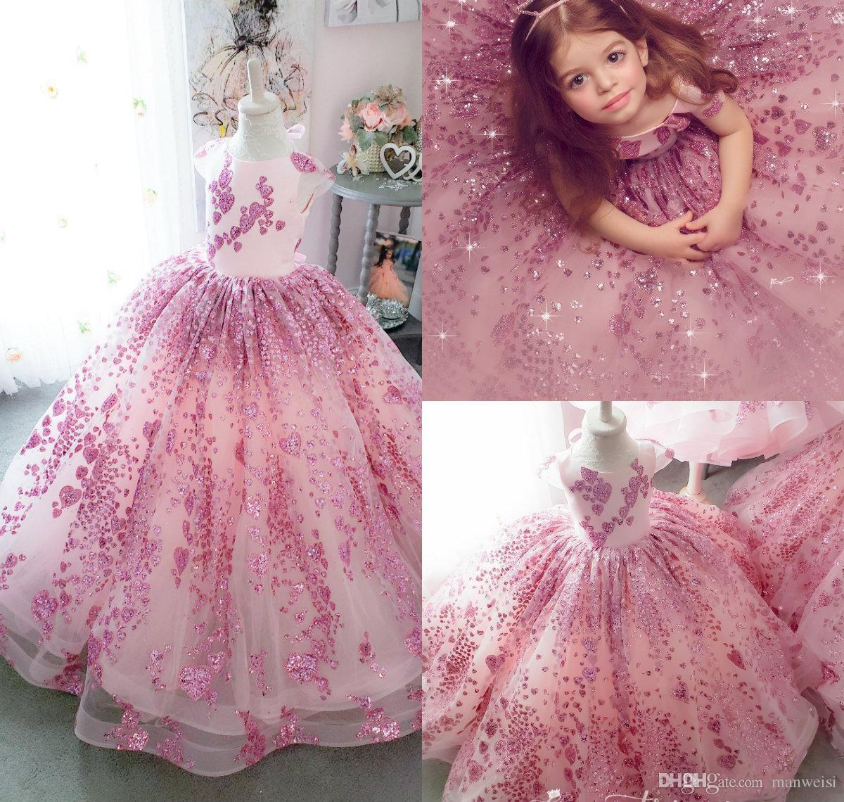 Bling Bling Little Girls Pageant Dresses Lace Sequins Cap Sleeve Ball Gown Flower Girl Dress For Wedding Kids Formal Birthday Party Gowns