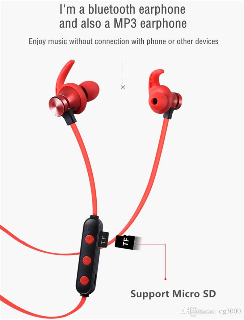 In-Ear wireless auricolari auricolare Bluetooth con microfono impermeabile Sport auricolare Bluetooth Handsfree Cuffie Micro SD Card magnetica