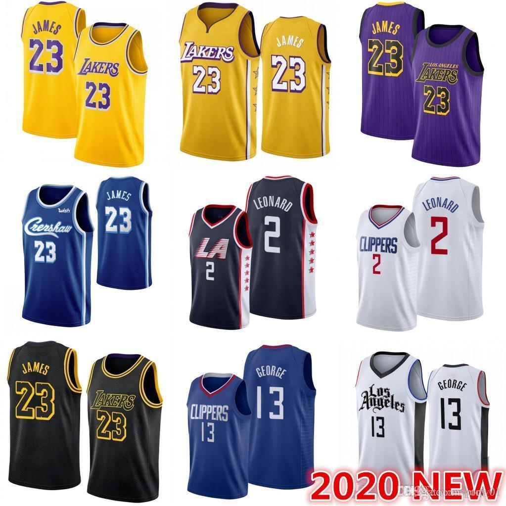 2020 NCAA Erkekler Los AngelesnbspLakers Lebron 23 James Jersey nbspClippers Kawhi 2 Leonard Paul 13 George College Basketball Formalar S-2XL