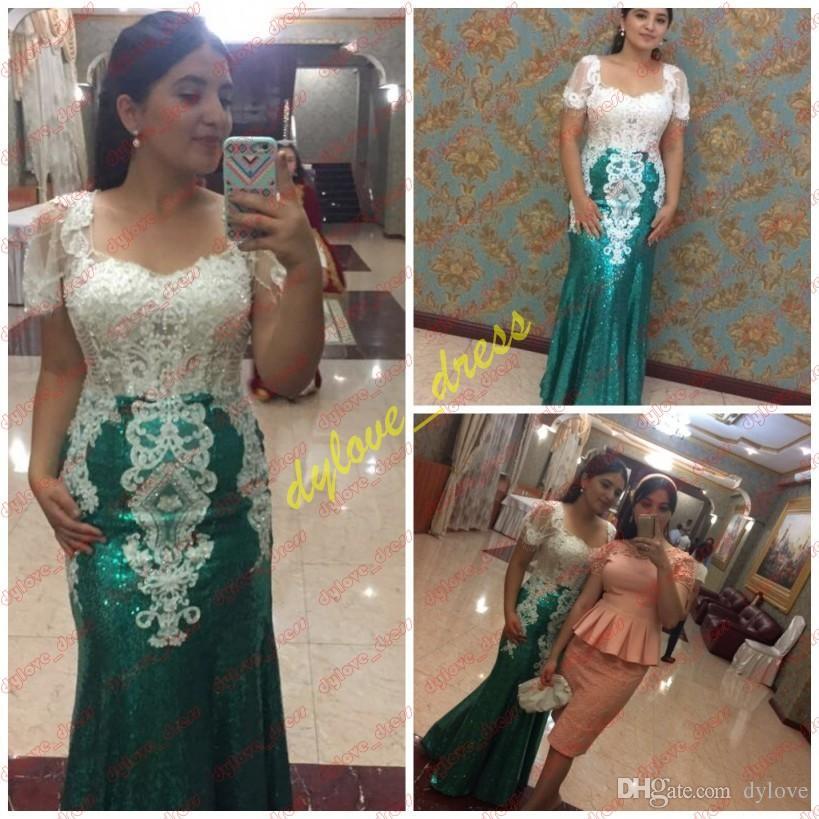 2019 sexy long plus taille vert africain robes de bal robes de mariée arabe paillettes formelle robe robes de soirée sirène