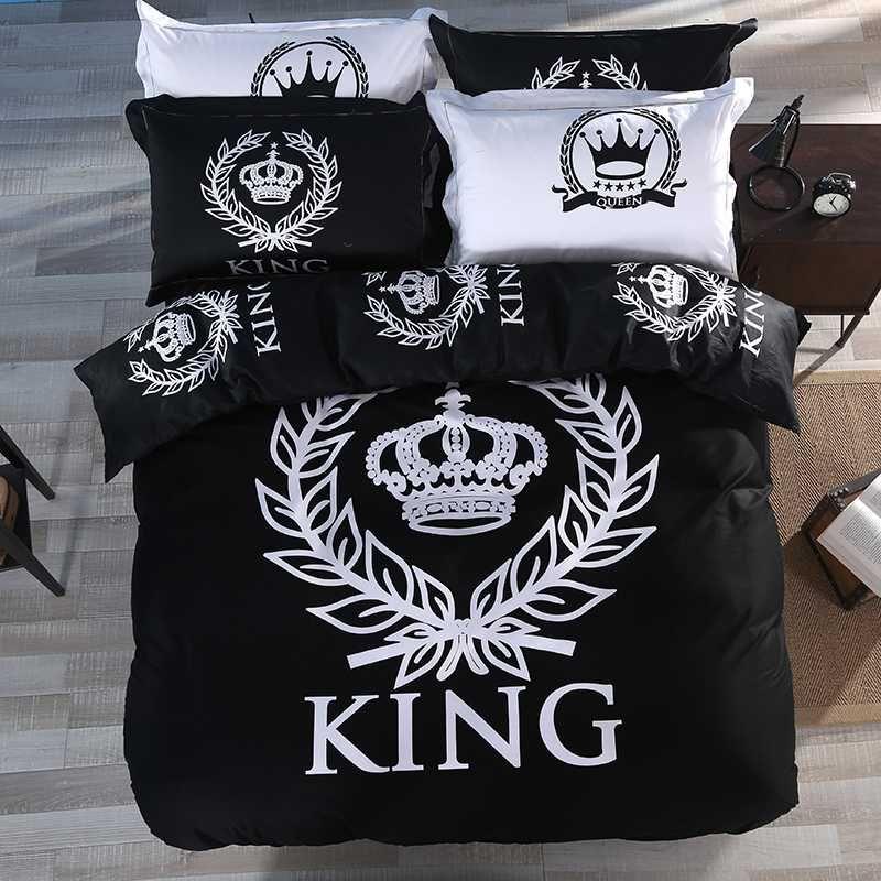 Moda KING Corona 100% Cotton Duvet Cover Set con letto lamiera piana e federa nero singolo Regina King Size Bedding