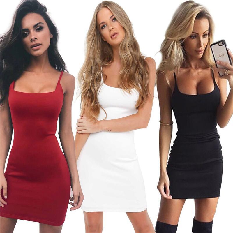 Лето женщин Повседневные платья Спагетти ремень Сплошной цвет выдалбливают платье Sexy Street Style Женский Одежда