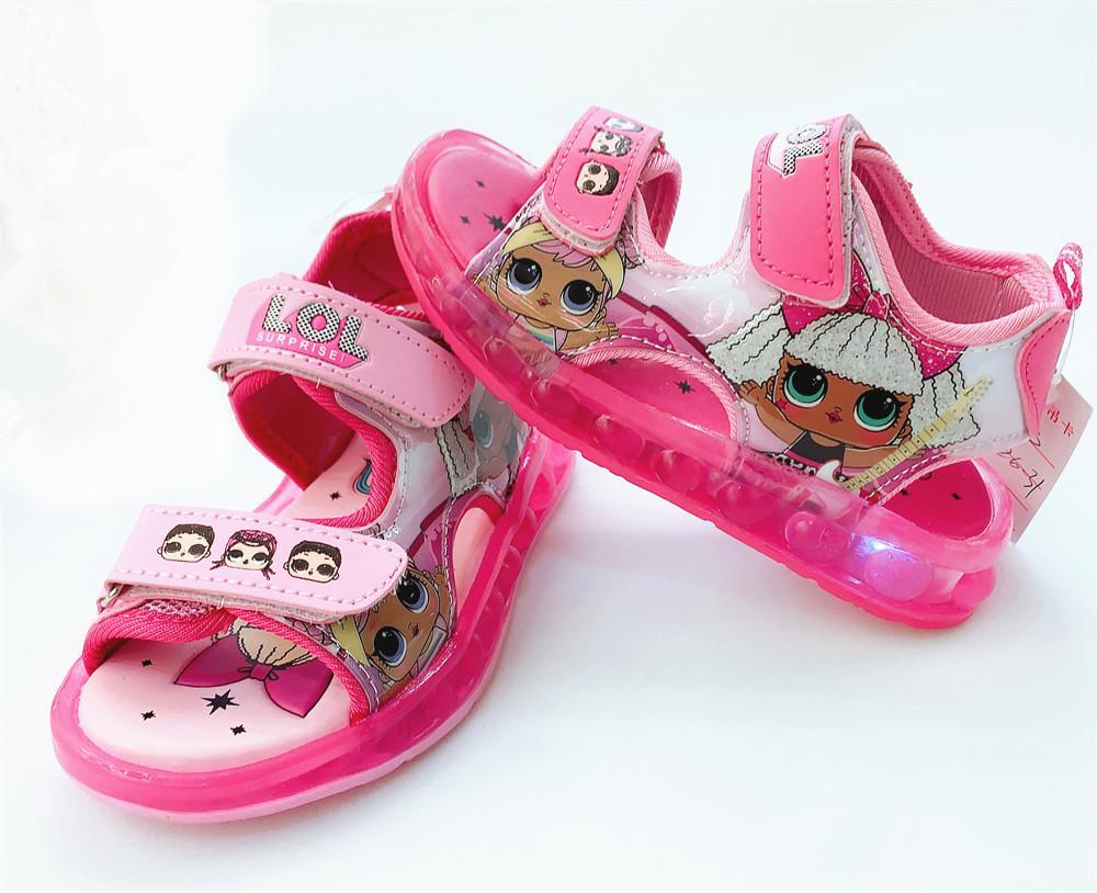 2020 Дети мультфильм кукла Led сандалии Мальчики Спорт Повседневная обувь Легкие Дети Детские плоские туфли Дети Бич кожаные сандалии DHL бесплатно