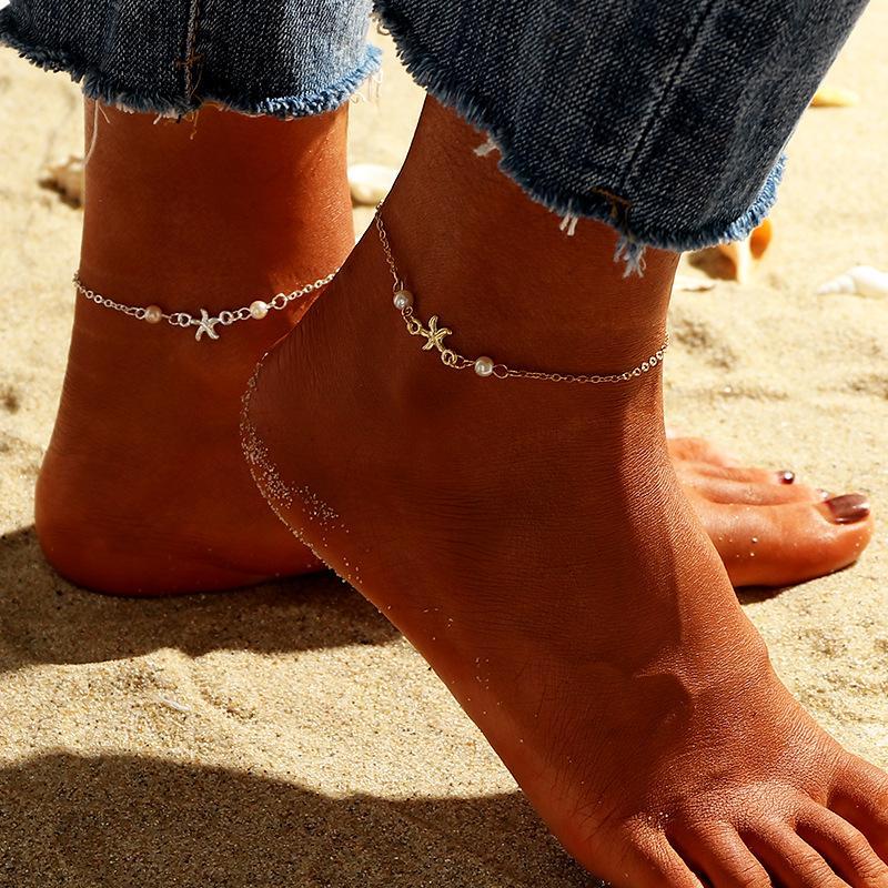 Starfise della stella della stella della stella della stella della stella della stella della stella della stella dei braccialetti della caviglia per perlato per le donne dei monili del corpo della catena del piede delle donne