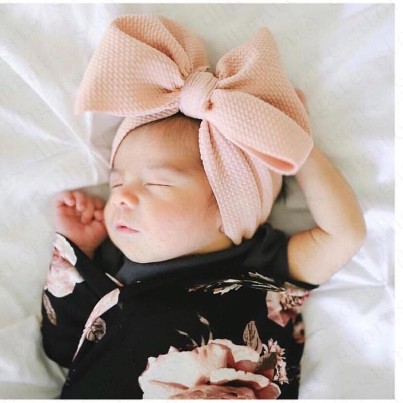 Los niños de los bebés del arco grande banda elástica ancha diadema de pelo Wraps INS infantil recién nacido Las vendas Hairbands hairwraps abrigo de la cabeza del turbante D61005