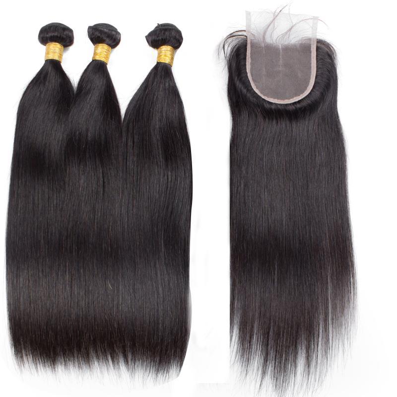 3 haces de pelo virginal brasileño 100% humano natural recto sedoso con cierre de encaje 4X4 sin procesar
