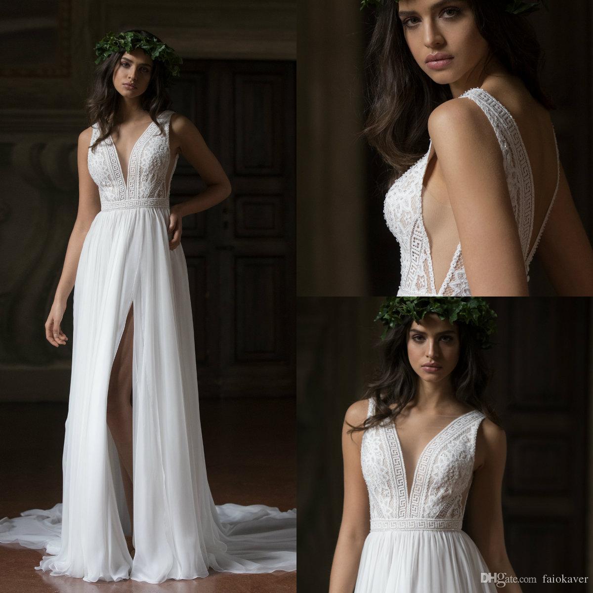 Summer Beach 2019 A Line Wedding Dresses Sexy Lace Appliqued V Neck High Split Chiffon Cheap Bridal Gowns Sweep Train Cheap Wedding Dress