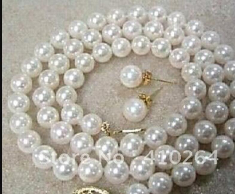 jewelry White Akoya Cultured Pearl Necklace Earring Set jewelry