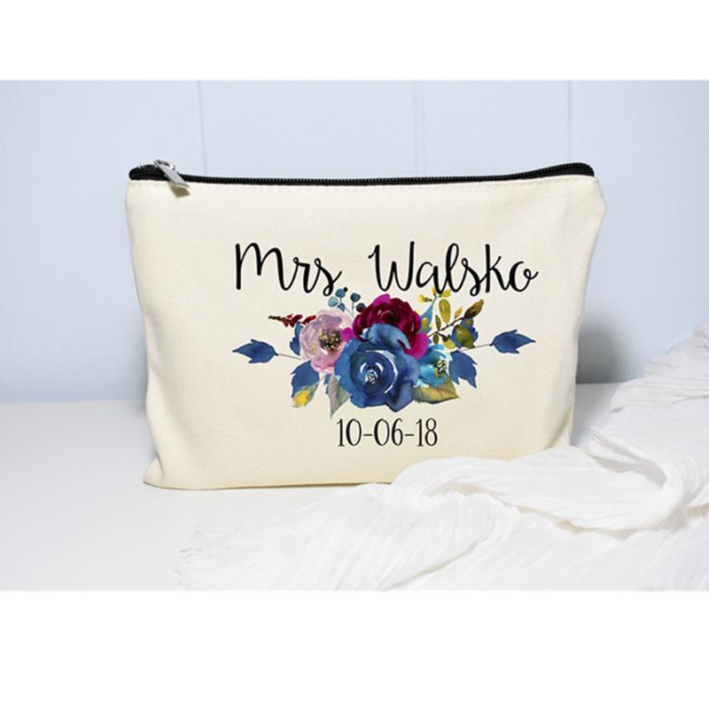 proposta da dama de honra feito sob encomenda da noiva da equipe floral para ser tornar-se sacos de casamento saco Cosmetic nupcial decoração Bachelorette Party