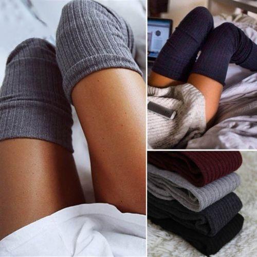 Caldo Womens Socks Inverno Calze Moda Donna calze sexy alta della coscia sopra il ginocchio Calze lunghe calze del cotone delle signore delle ragazze delle donne