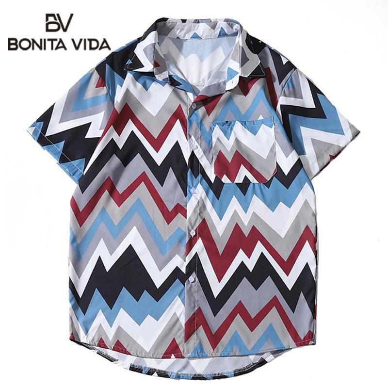 Bonita Vida coloré imprimé géométrique plage hawaïenne Aloha chemises sport à manches courtes Camp Aloha shirt de vacances d'été Hauts pour hommes
