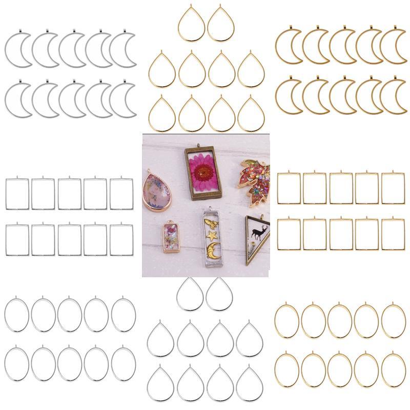 colgantes con pedrería y resina Paquete De 10-componente de pendientes
