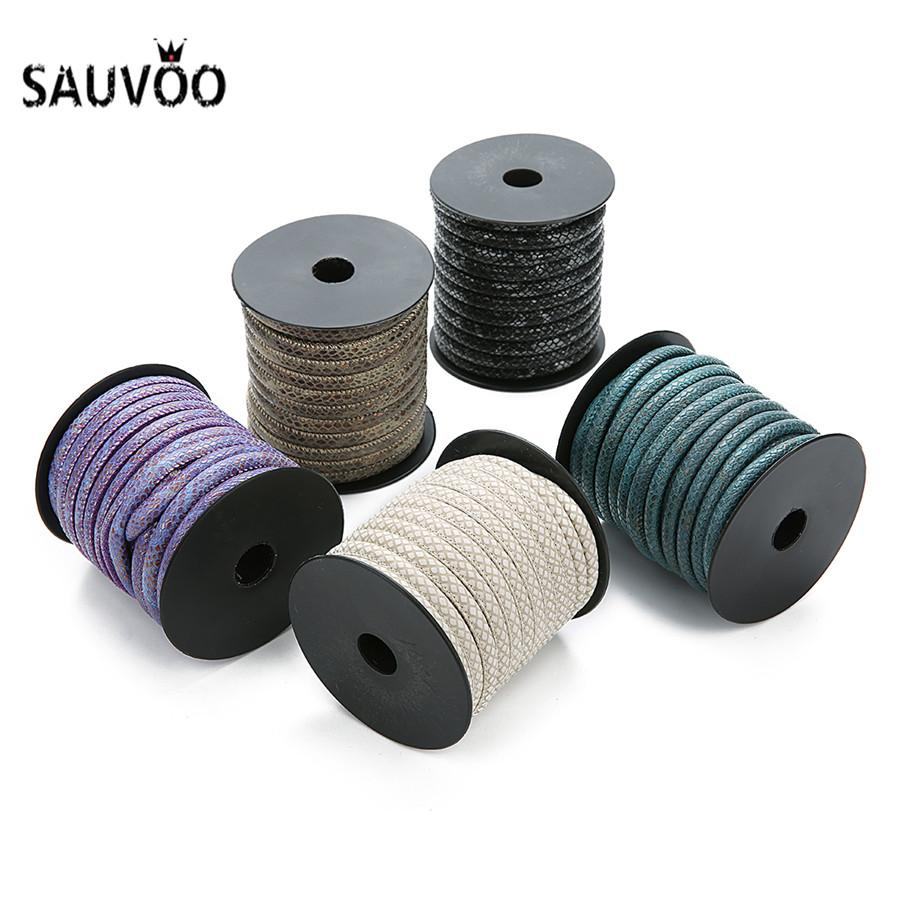 wholesale 10meter/roll 6mm Dia Snake Skin Pattern PU Leather Cords Handmade Braided Leather Rope For DIY Jewelry Making Findings